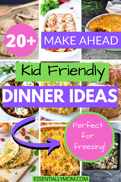 Looking for make ahead dinner ideas that all the family will enjoy? Here are over 20 kid friendly dinner ideas that are quick, easy and freezer friendly!