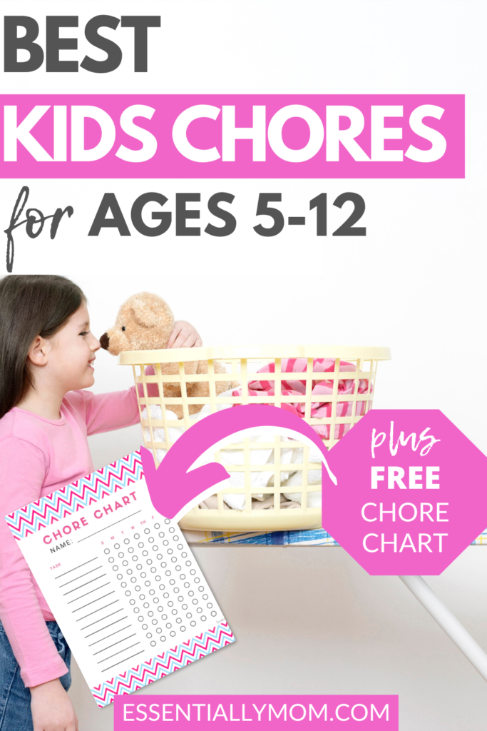 Chores are a great way to teach kids responsibility. The following kids chore ideas are arranged by age and include a free printable kids chore chart.