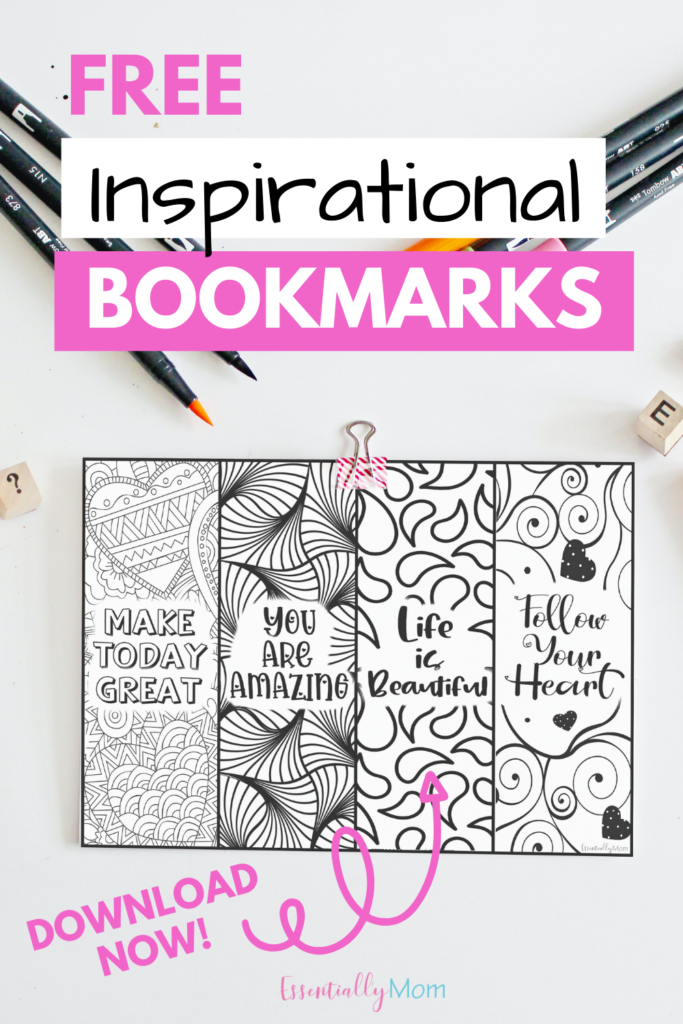 Be inspired and have fun coloring these free printable bookmarks with quotes! For more durability, print these on heavy cardstock.