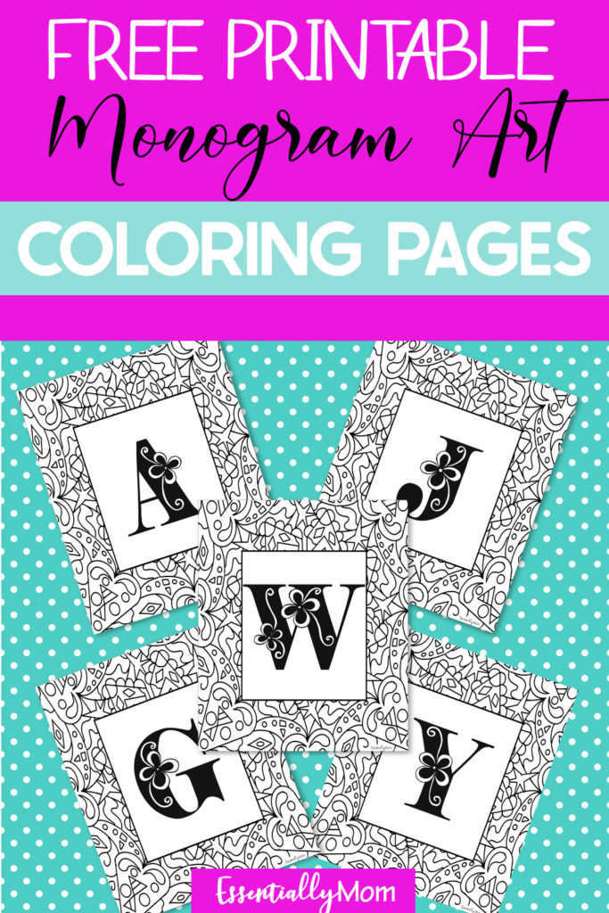 If you looking for some pretty free printable monogram coloring pages, check out my latest monogram printables below. Just click the link and print!
