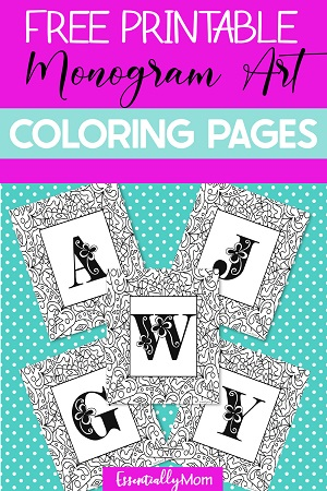 Free Printable Monogram Coloring Pages, monogram coloring wall art