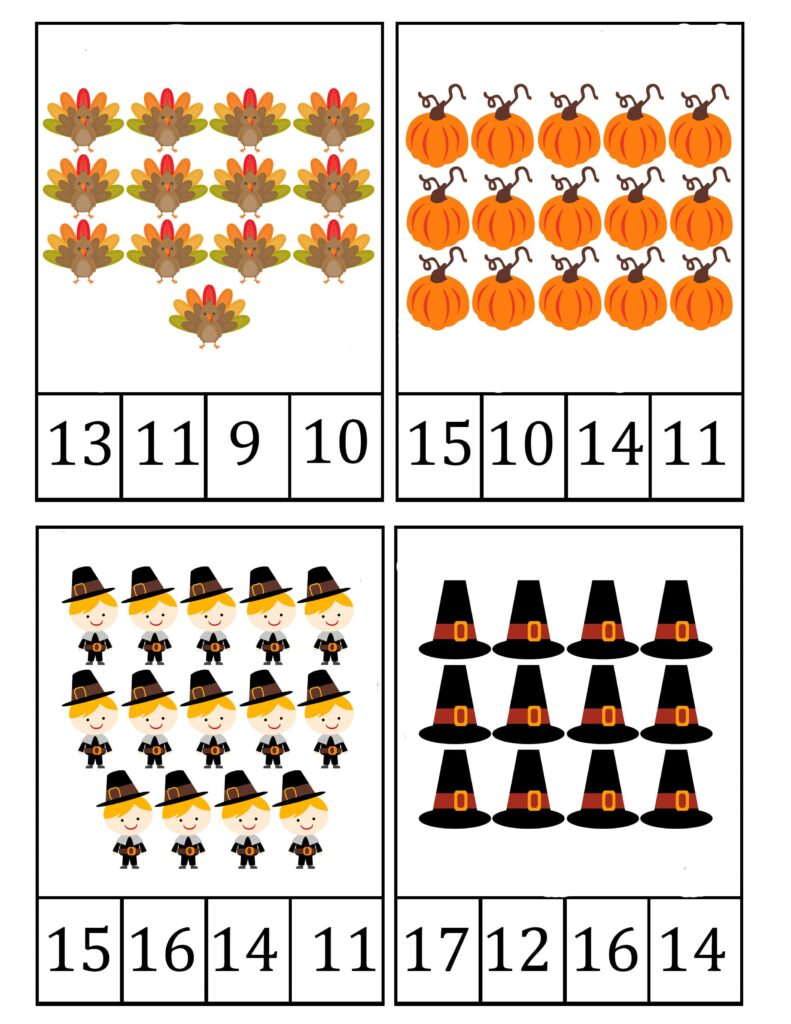 free printable counting flashcards,thanksgiving counting flashcards,thanksgiving math printables