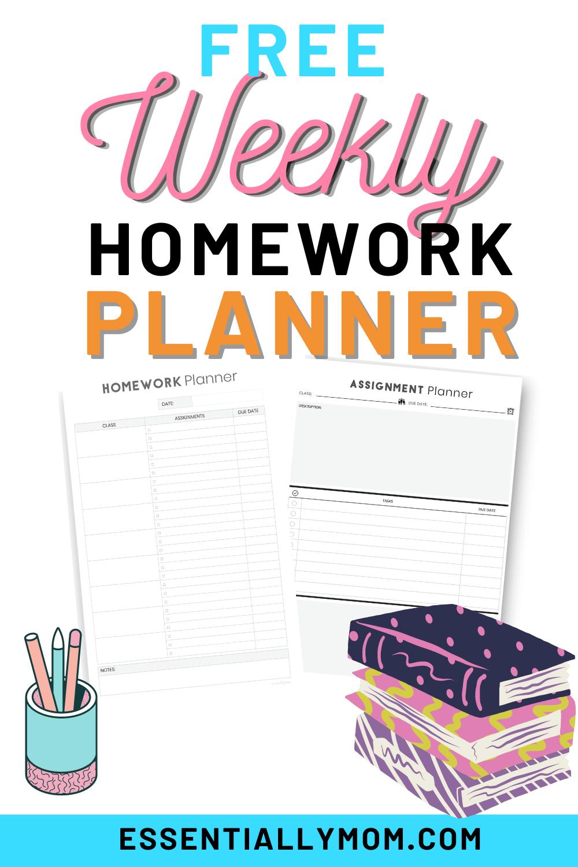 printable weekly homework planner,weekly homework assignment planner,weekly assignment planner,free homework planner printable